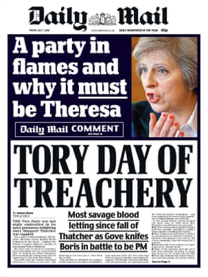 The Daily Mail's front page supporting Theresa May.