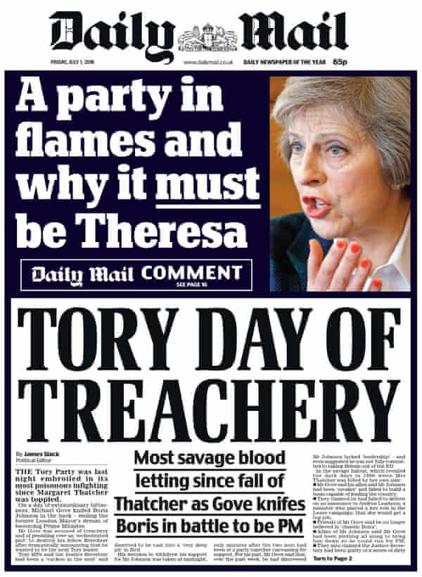 The Daily Mail backs Theresa May for prime minister.