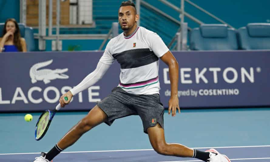 Nick Kyrgios hits a no-look volley against Dusan Lajovic in the third round in Miami, where he has also been using his underarm serving tactic.