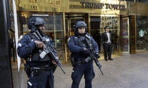 Heavily armed police stand guard outside Trump Tower in New York City