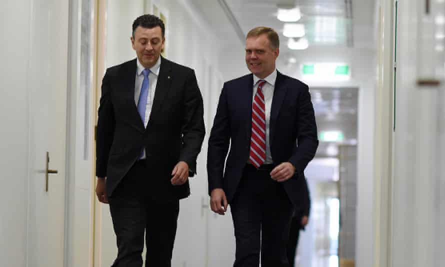 Andrew Southcott, left with Tony Smith on the day Southcott lost to Smith in his bid to become Speaker of the House.