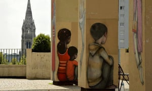 Murals on pillars, Paris.
