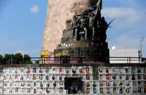 A roundabout has been turned into a monument by families and rights groups demanding justice for the victims of forced disappearances in Guadalajara, in the state of Jalisco, Mexico.