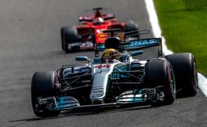 Vettel, keeping track on Hamilton.