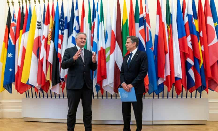 Mathias Cormann Antony Blinken at the OECD headquarters in Paris