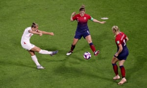 England's Georgia Stanway shoots at goal.