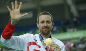Sir Bradley Wiggins with his gold medal following victory in the men's team pursuit final