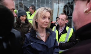 Environment secretary Liz Truss meets residents and rescue workers in Tadcaster after heavy flooding in the North Yorkshire town