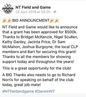 """A Facebook post by the NT Field and Game Association announcing the $500,000 grant, which praises a """"Nigel Scullen""""."""