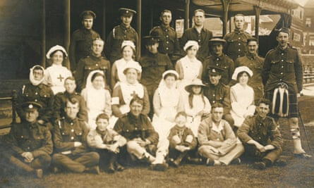 Staff at the Pavilion VAD hospital, Nottinghamshire County Cricket Club, during the first world war.