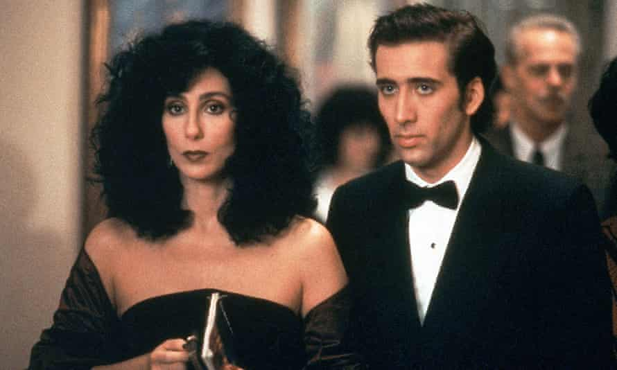 With Cher in Moonstruck, 1987.