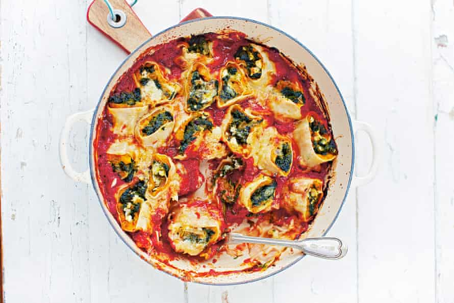 Pretty gnarly: Jamie Oliver's squash and spinach rotolo.