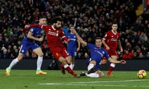 Mohamed Salah slams in the opening goal.
