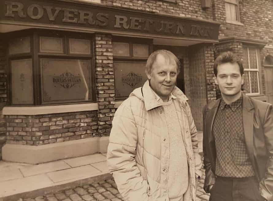 the young Abbott, right, with fellow writer Tom Elliott on the set of Coronation Street.