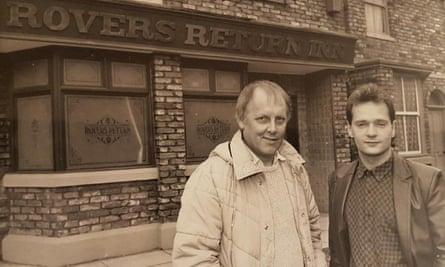 Tom Elliott, left, with Paul Abbott outside the Rovers Return