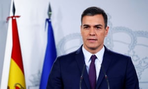 Spain's prime minister, Pedro Sánchez, holds a news conference in Madrid