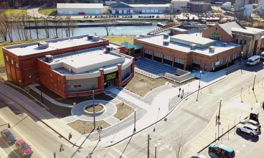 A drone shot of the National Comedy Center in Jamestown, N.Y.
