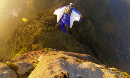 'You are the bird, every twitch can move you this way or that'… Polli flies off Pedra da Gávea, near Rio de Janeiro, in a scene from Base.
