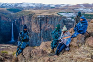 Basuto tribal leader and local shepherds in Semonkong, Lesotho