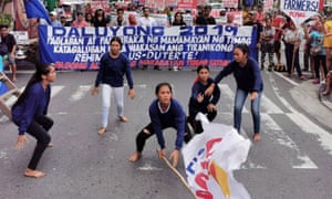 Anti-government protesters stage a demonstration in Manila, the Philippines