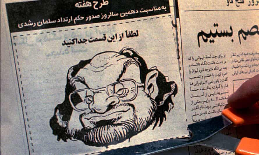 A cartoon of Salman Rushdie published in the Iranian newspaper Abrar in February 1999 asks readers to cut the head off the British writer on the 10th anniversary of the fatwa.
