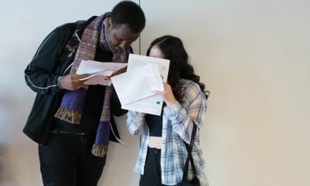 Students at Ark Globe Academy in Brixton, London, receive their A-level results