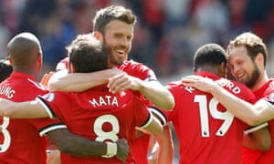 Michael Carrick celebrates after his pass created Manchester United's winner against Watford at Old Trafford.