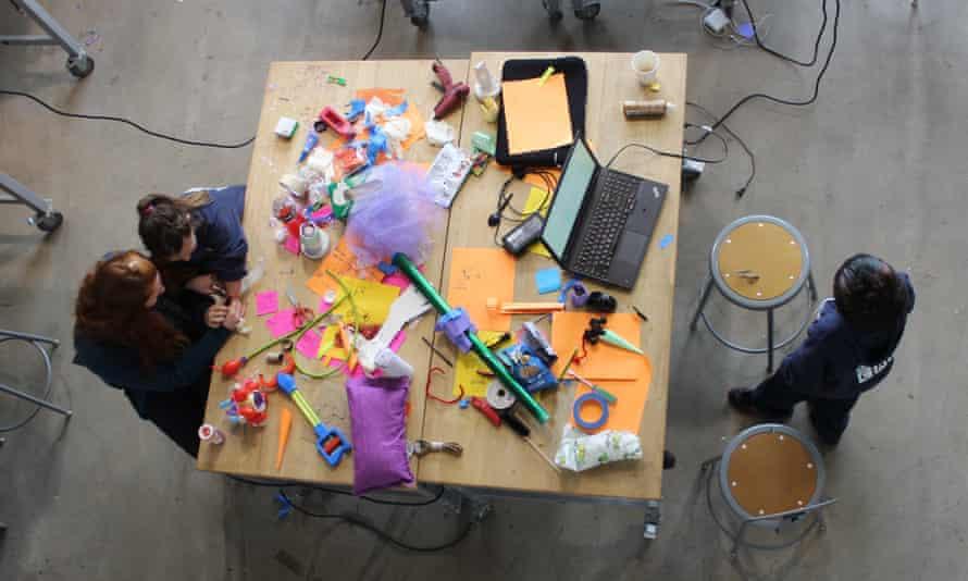 Children working on their designs.