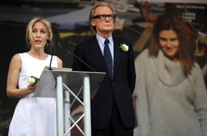 Actors Gillian Anderson and Bill Nighy on stage during the memorial event at Trafalgar Square
