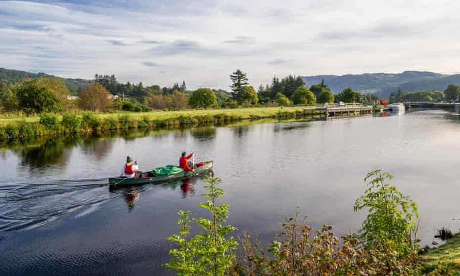 Canoing the Caledonian Canal, part of Scotland's Great Glen Trail.