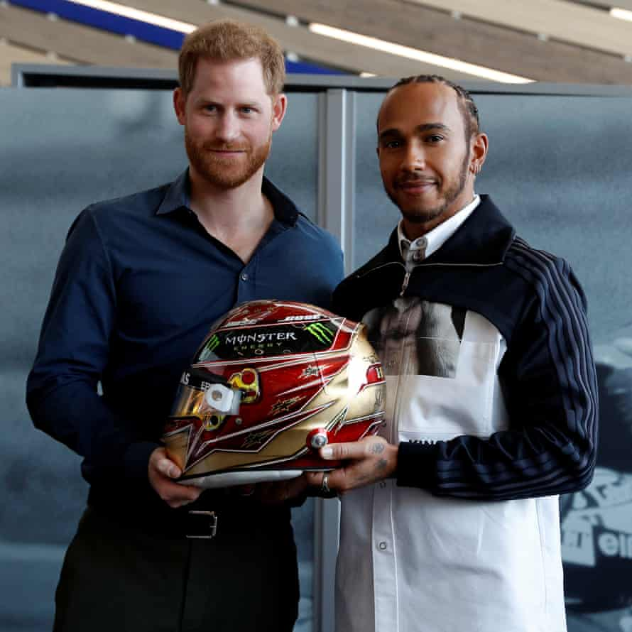 Prince Harry meets Lewis Hamilton at Silverstone on Friday.