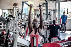 Asiya Mohammed lifts weights during her gym session at Tudor Water Sports Hotel in Mombasa.