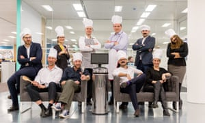 Men and women with moustaches and chef hats