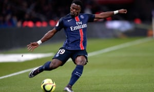 PSG's Serge Aurier during the Ligue 1 game against Lorient