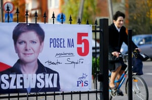 An election poster depicting Law and Justice's candidate for prime minister, Beata Szydło, in Łęczyca, Poland, in October 2015.
