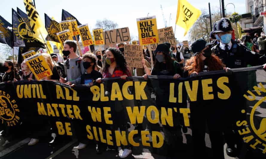 Black Lives Matter supporters at a 'kill the bill' protest in London