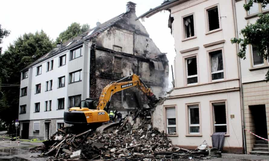burnt out apartment building in Wuppertal