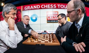Garry Kasparov and Terry Chapman playing chess against the inventor of the Alpha Zero, Deepmind's Demis Hassabis, and Matthew Sadler at the Google HQ London.