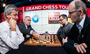 Garry Kasparov and Terry Chapman playing chess against the inventor of the Alpha Zero, Deep Mind's Demis Hassabis and Matthew Sadler.