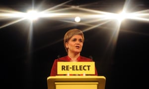 Nicola Sturgeon speaks at the launch of the SNP's manifesto in Edinburgh on 20 April 2016