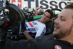 The British rider Alex Brooke-Turner (centre)