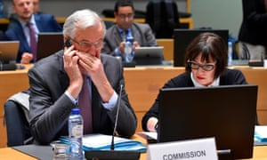 Michel Barnier, the EU's chief Brexit negotiator, speaking on his mobile phone during a meeting of the EU general affairs council. He is briefing the EU27 on the state of the Brexit talks.
