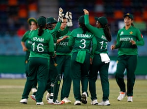 Aiman Anwer of Pakistan celebrates after taking the wicket of Danni Wyatt.
