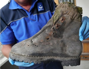 A police image showing a mountain shoe found next to the remains of the two Japanese climbers who disappeared in the Swiss Alps in 1970.