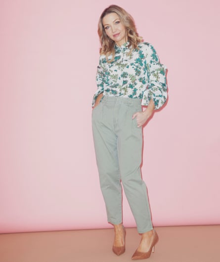 Jess Cartner-Morley in green leaf shirt, chinos and heels