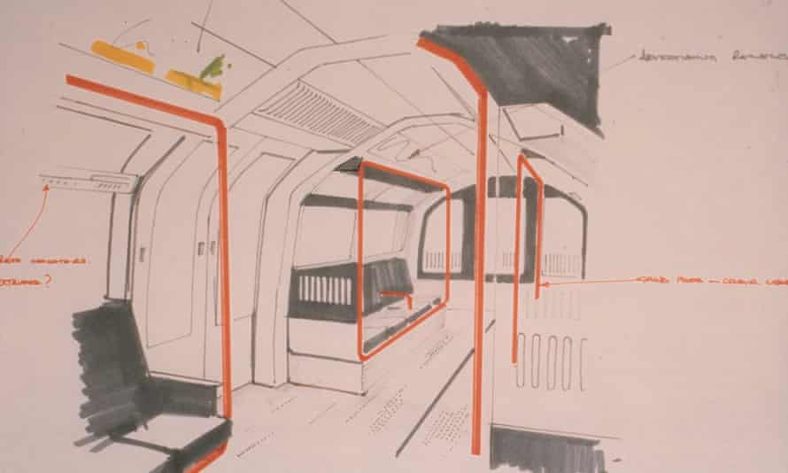 A sketch by David Carter for the interior of London Underground trains on the Central line