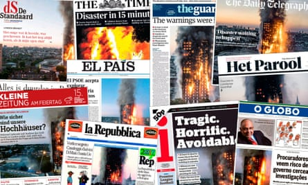 Newspapers report on the Grenfell Tower fire
