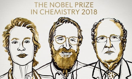 Frances H Arnold, George P Smith and Gregory P Winter, who have won the 2018 Nobel prize in chemistry.