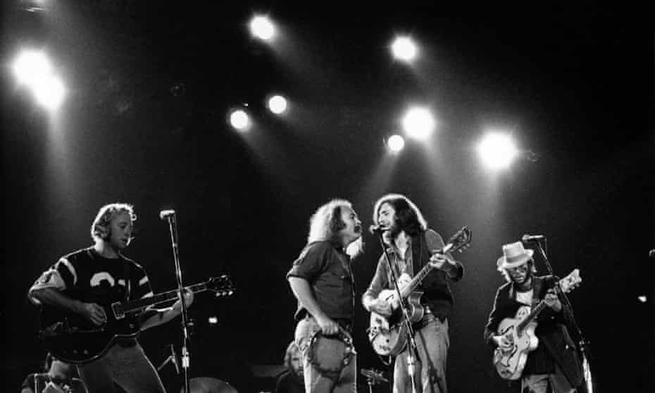 In the wrong order (from left): Stephen Stills, David Crosby, Graham Nash and Neil Young on stage in 1974.