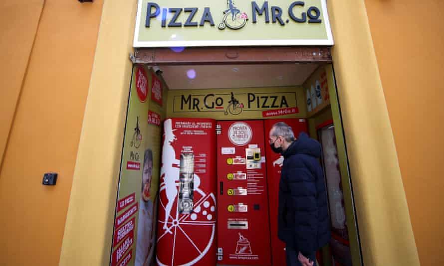 Claudio Zampiga waits for his order at Mr Go Pizza.
